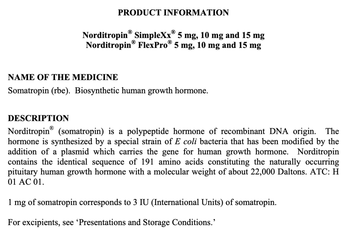 MorePlatesMoreDates.com Norditropin Product Information - MG to IU conversion for Somatropin