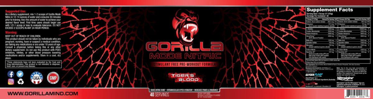 Gorilla Mode Nitric (Tiger's Blood) Label Design