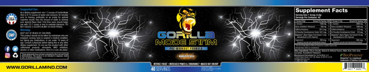 Gorilla Mode Stim Energy Formula Label And Supplement Facts