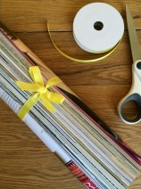 Roll your Magazine/s together and tie with ribbon.