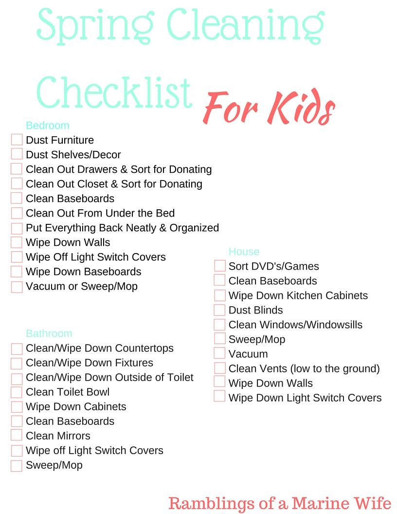 Spring Cleaning Checklist for Kids – Sample Spring Cleaning Checklist