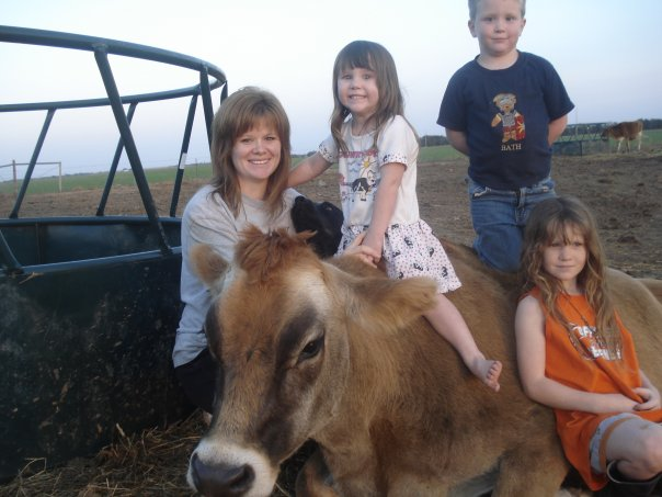 Me, the kids, and a cow