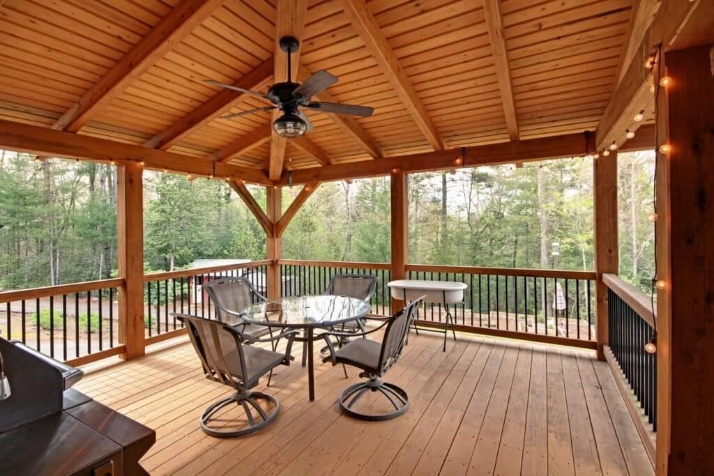 timber frame porch deck entrance