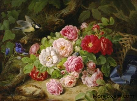 Синичка и розы