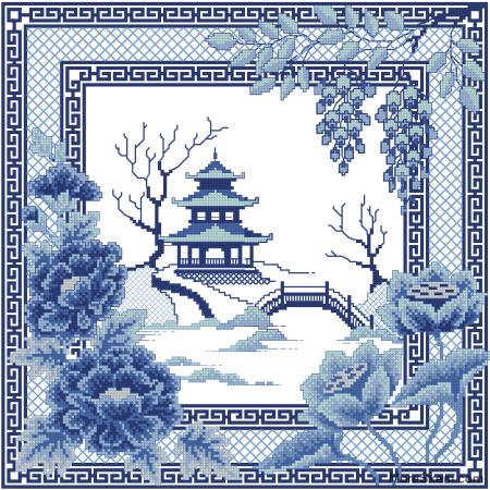 Синий китайский пейзаж