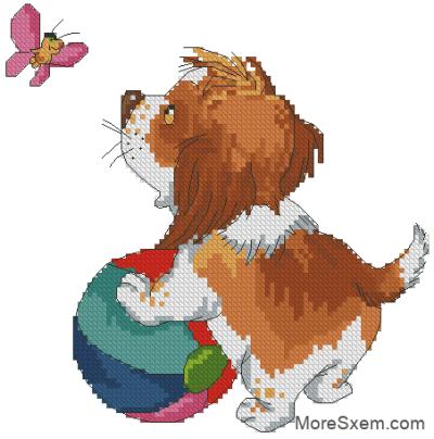 Щенок Антошка с мячом