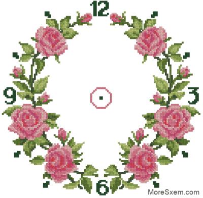 Часы розовые розы