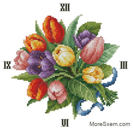 Часы тюльпаны