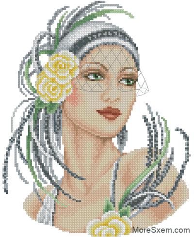 леди с желтыми розами