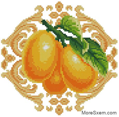 Абрикосы с желтым орнаментом