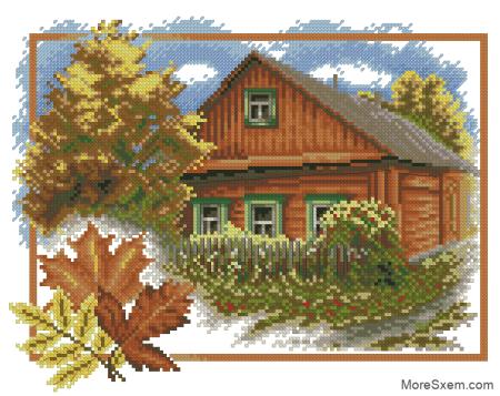 Дом осенью