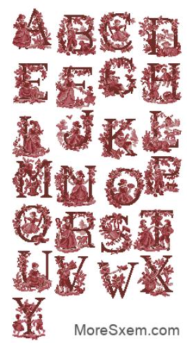 Алфавит в стиле туаль-де-жуи (abc)