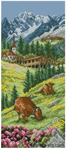 Швейцарский Альпийский пейзаж