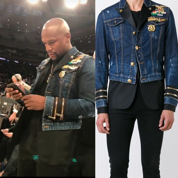 STYLE:  Floyd Mayweather's  Knicks Game Dsquared2 Mixed Material Denim Mens Fashion Jacket