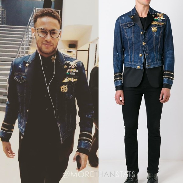 Cool Men's Clothes: Neymar Jr's Dsquared2 Mixed Material Denim Jacket