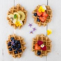 Belgian waffles with fruit and yoghurt