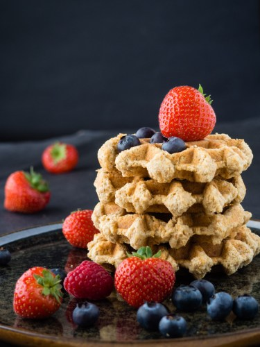Belgian waffles with fruit and yoghurt