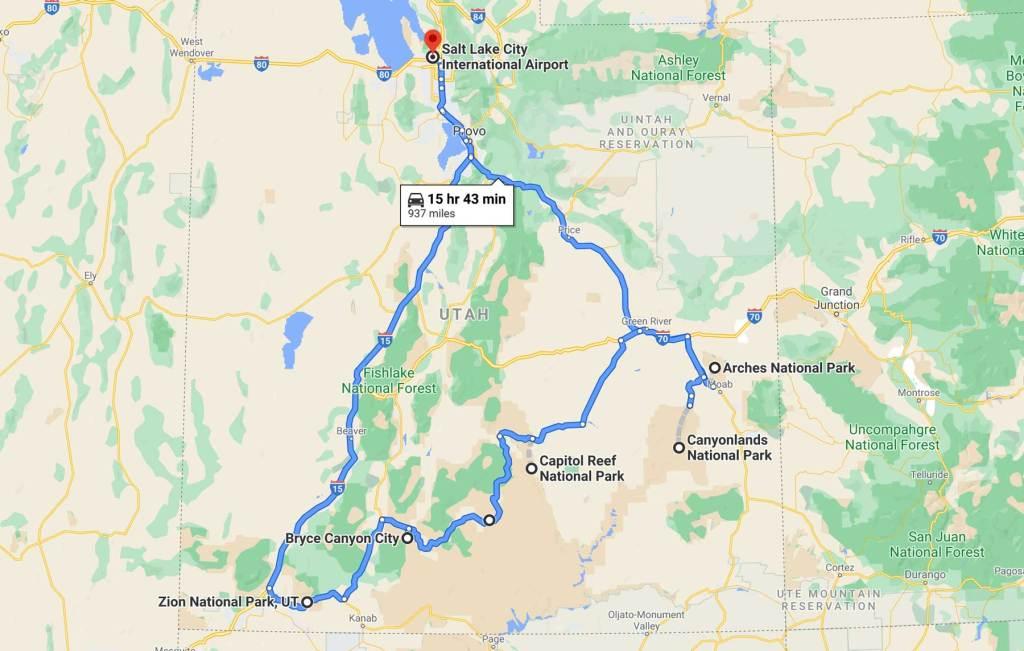 utah national park road trip map