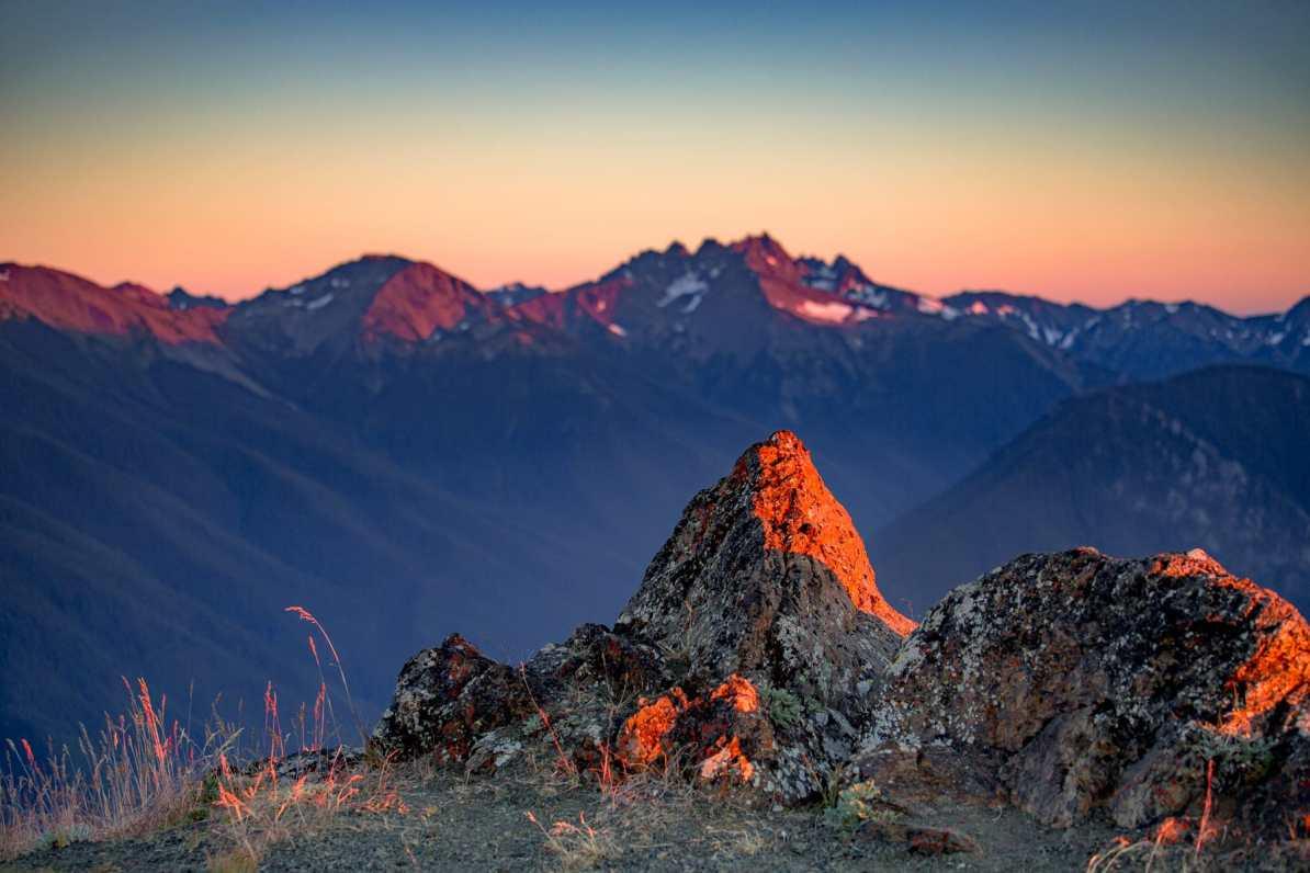 blue mountain sunset olympic national park washington