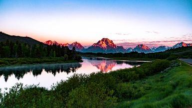 grand teton national park wyoming, oxbow bend sunrise