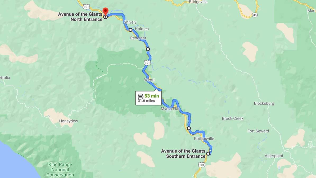 avenue of the giants map redwoods, california
