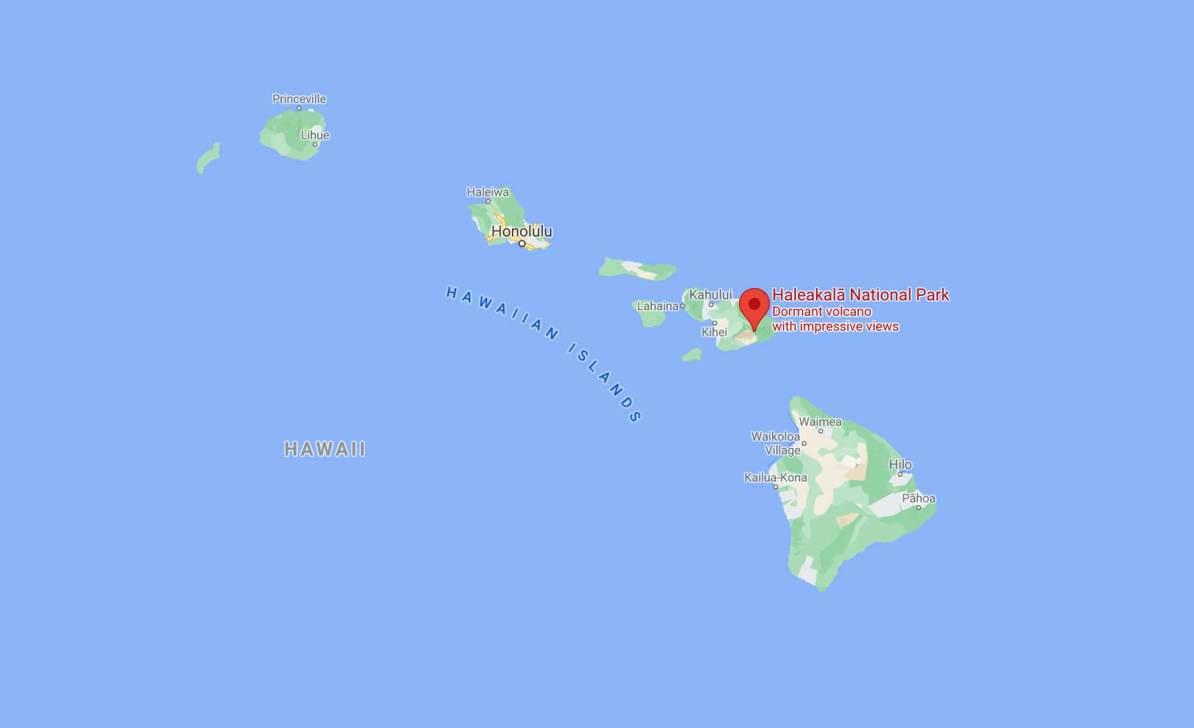 haleakala national park map maui, hawaii