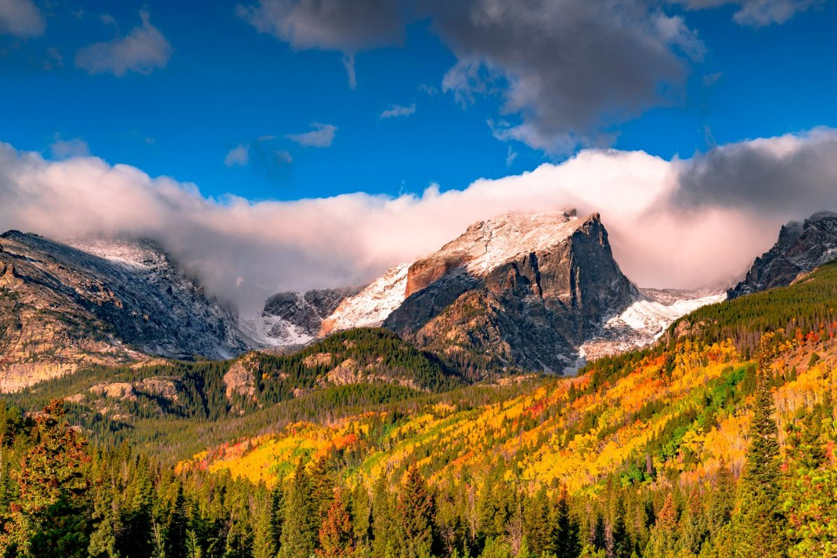storm pass in autumn, rocky mountain national park colorado