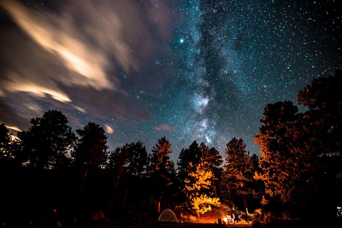 moraine park campground night skyrocky mountain national park colorado