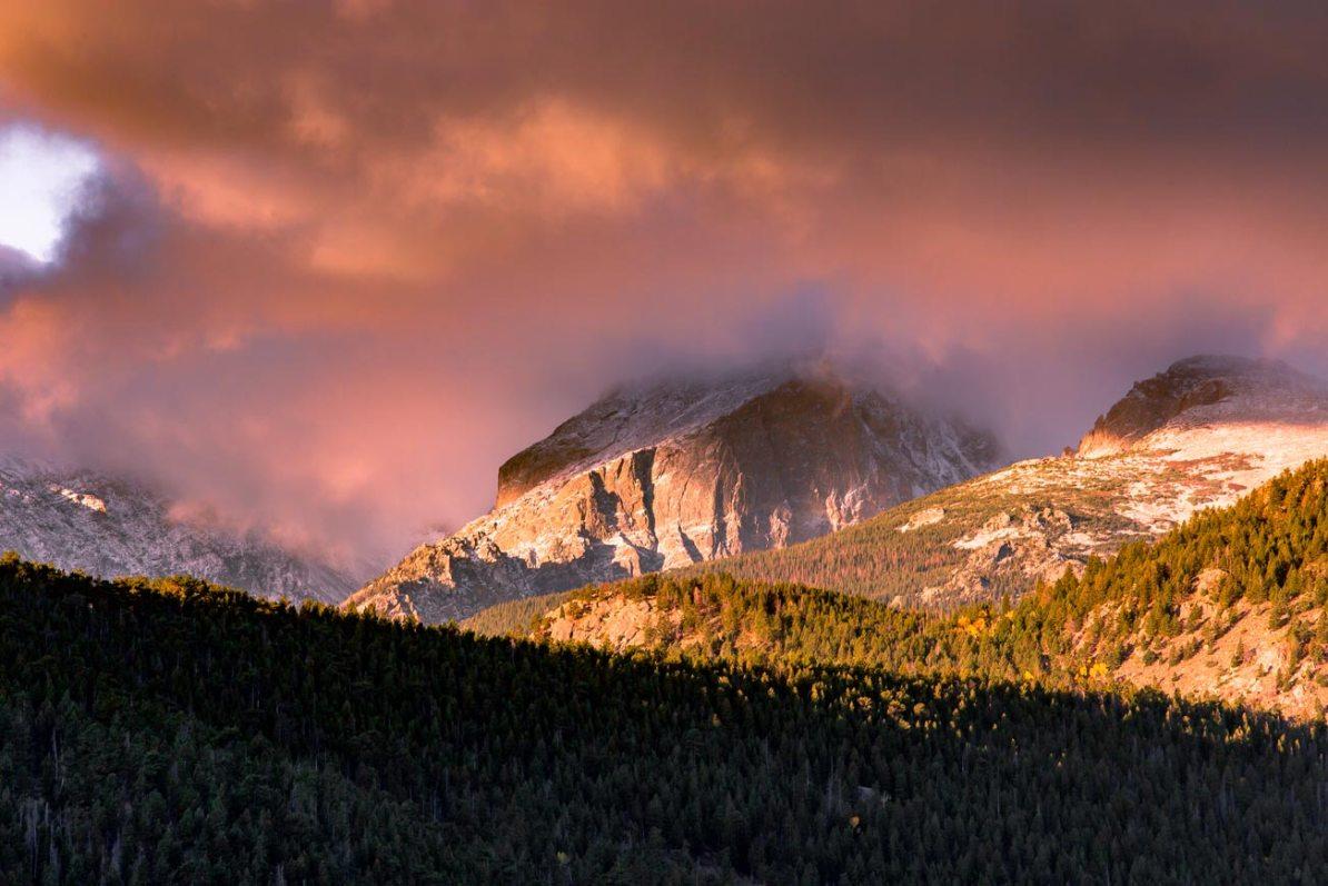 flat top mountain sunset rocky mountain national park colorado