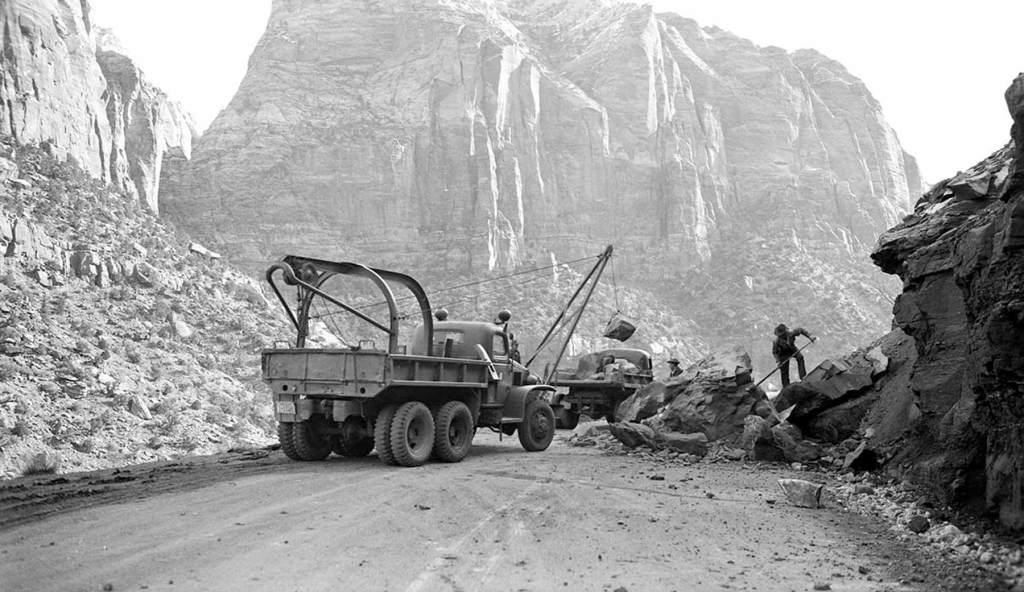 zion national park history - rock slide