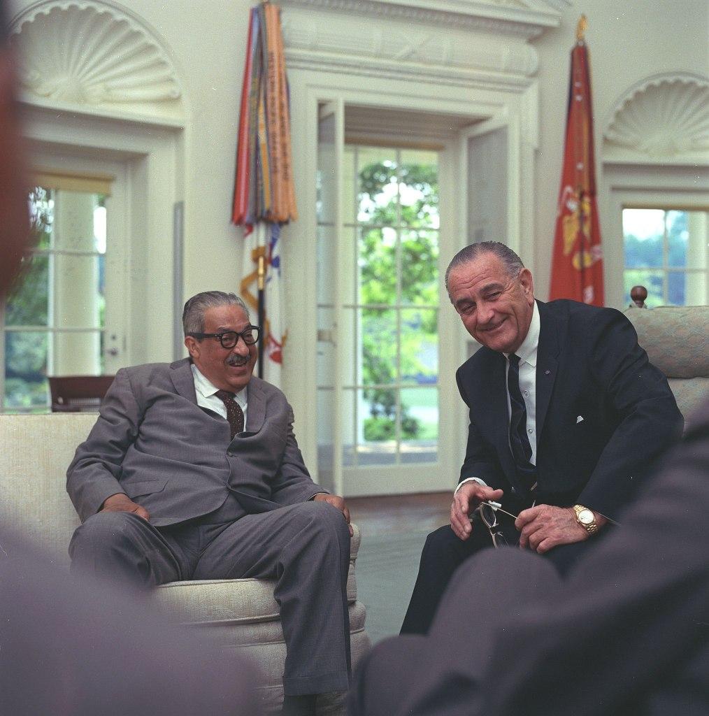 Thurgood Marshall with President Lyndon Johnson   Kansas National Parks