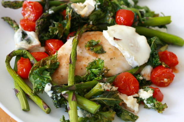Italian roasted chicken with asparagus and goats cheese