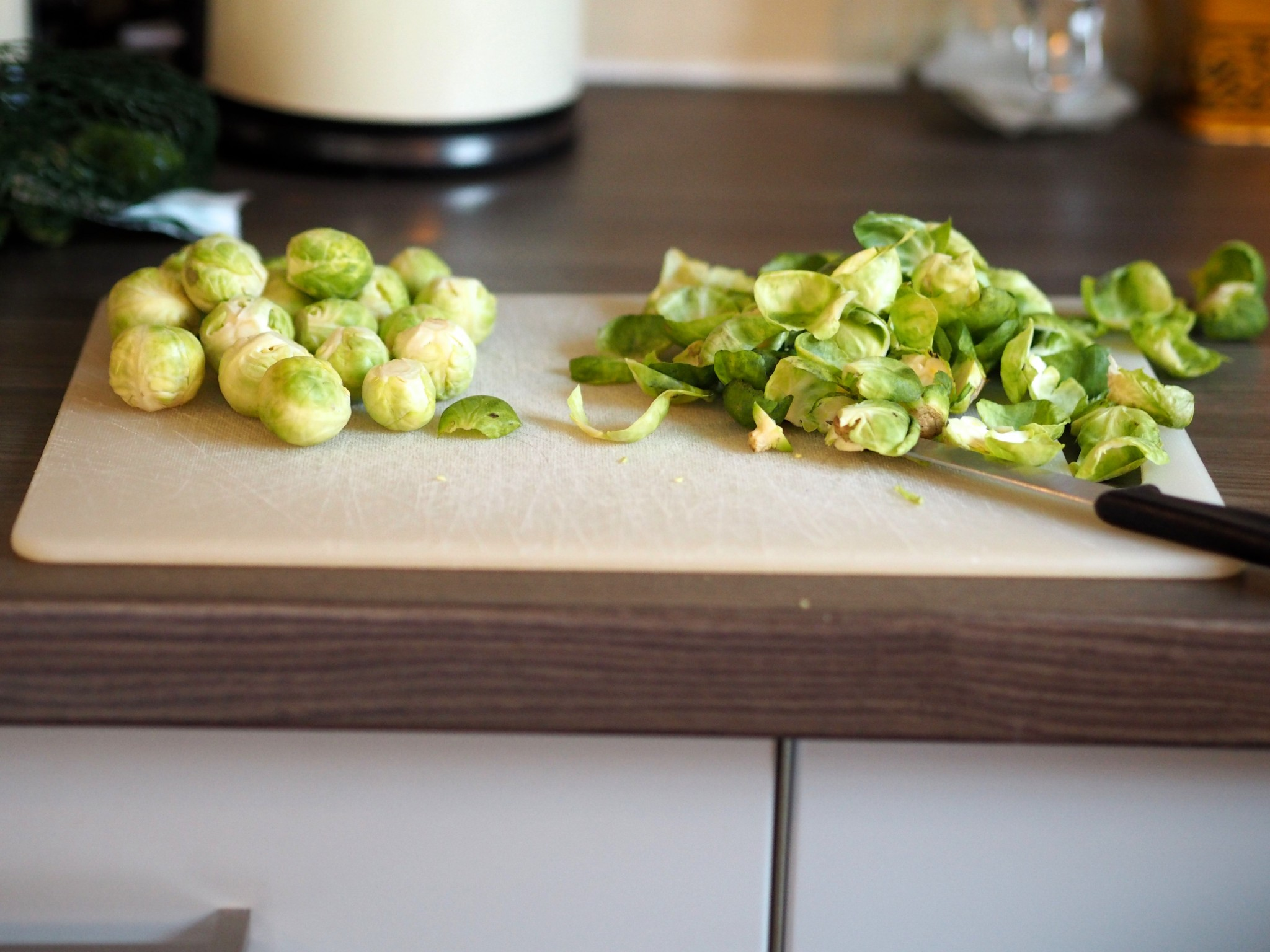 leftover veg hash - chopped sprouts