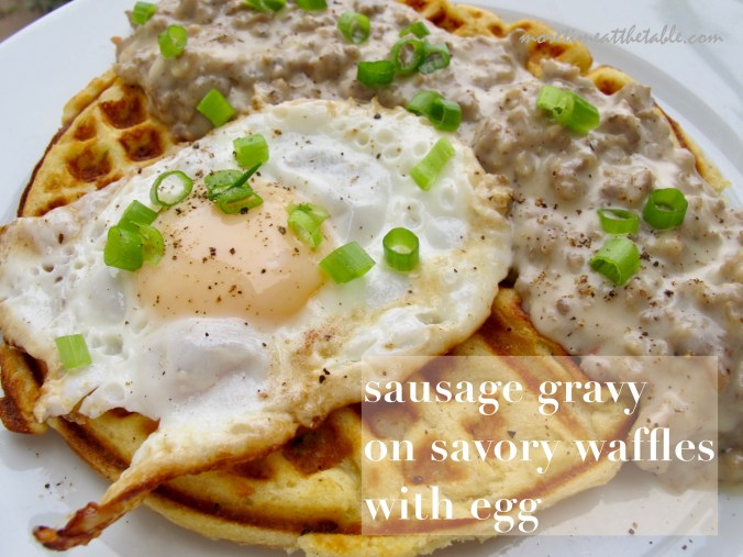 015 Waffles and sausage gravy with egg