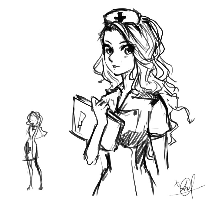 A quick concept sketch of Sister-Doctor character by Anastasia Majzhegisheva