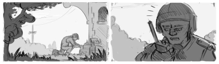Detailed storyboard drafts by Nikolai Mamashev