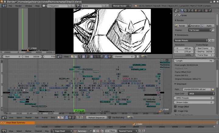 Video editing timeline in Blender