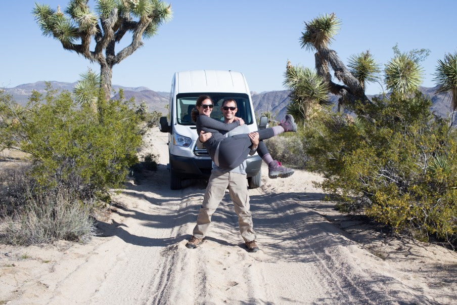 Matt, Tricia, and Gidget in Joshua Tree