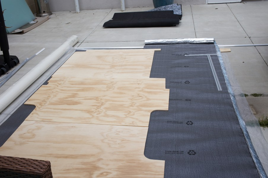 Plywood on top of the underlayment