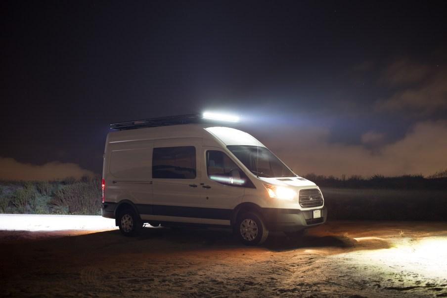 Light bars illuminated at night