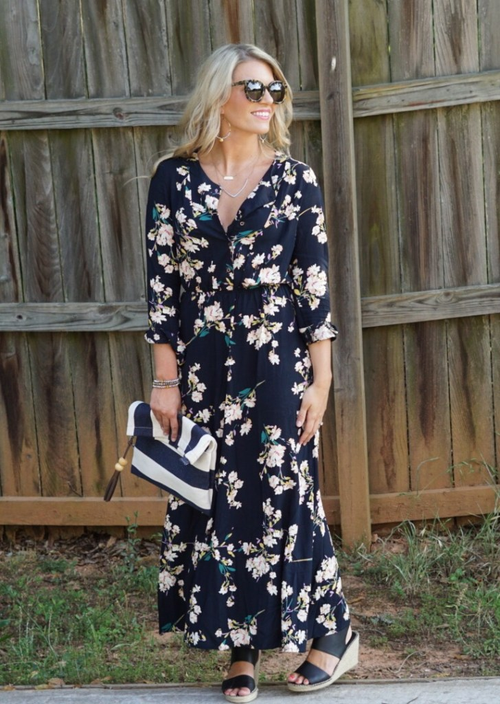 Long Sleeve Floral Maxi: Perfect Summer Date Night Dress