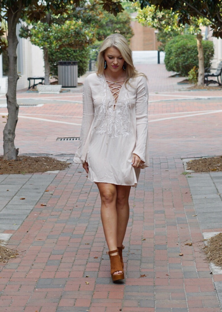 neutral taupe lace up dress bell sleeves forever 21