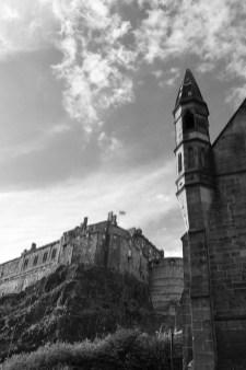 Edinburgh Castle vu de Grassmarket Square