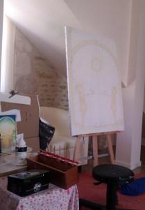 Ensuite je prépare la toile, en plaçant les éléments.