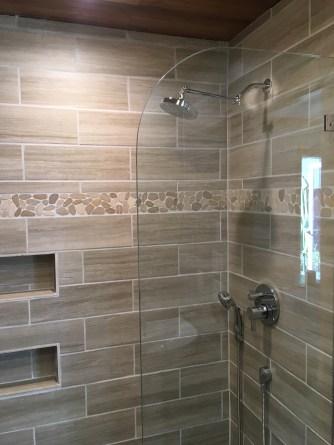 bathroom all tile bamboo ceiling