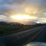 Sun peaking through the rain clouds
