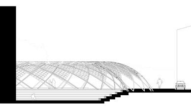Coupe paysagère : Le projet dans le site.