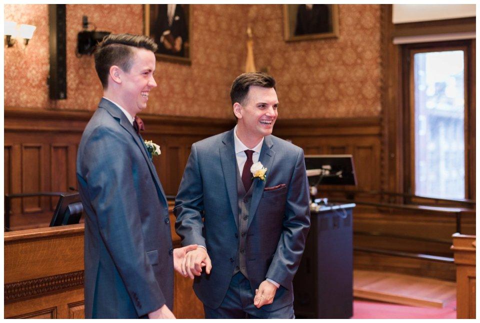 same sex groom elopement at cambridge city hall