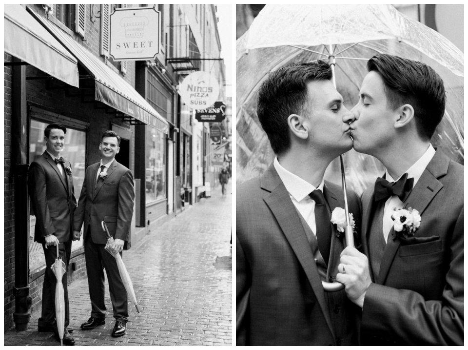 same sex groom wedding portraits in beacon hill