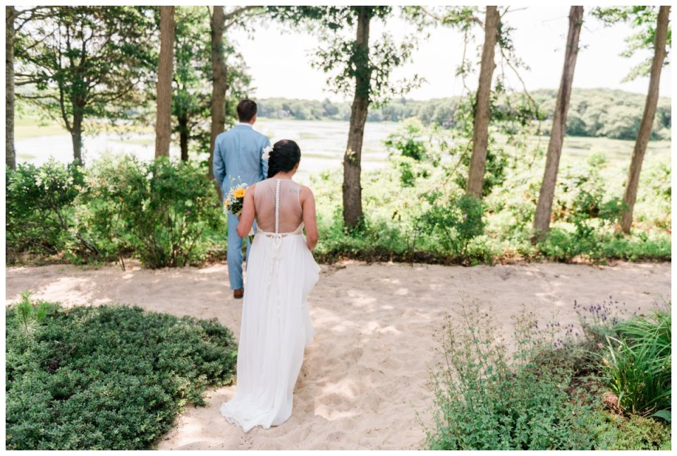 first look at a falmouth beach wedding on cape cod